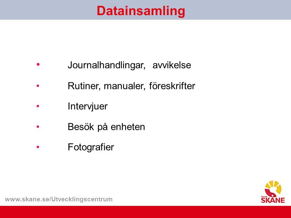www.skane.se/Utvecklingscentrum Datainsamling Journalhandlingar, avvikelse Rutiner, manualer, föreskrifter Intervjuer Besök på enheten Fotografier