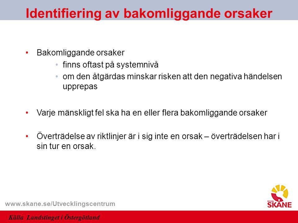 www.skane.se/Utvecklingscentrum Bakomliggande orsaker finns oftast på systemnivå om den åtgärdas minskar risken att den negativa händelsen upprepas Va