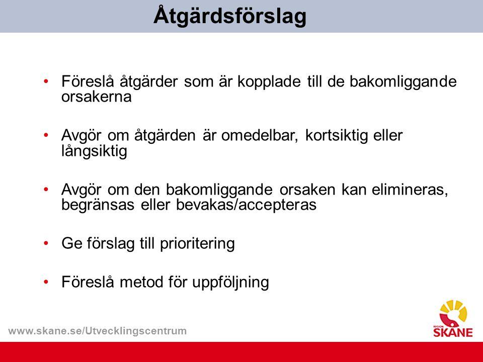 www.skane.se/Utvecklingscentrum Föreslå åtgärder som är kopplade till de bakomliggande orsakerna Avgör om åtgärden är omedelbar, kortsiktig eller lång