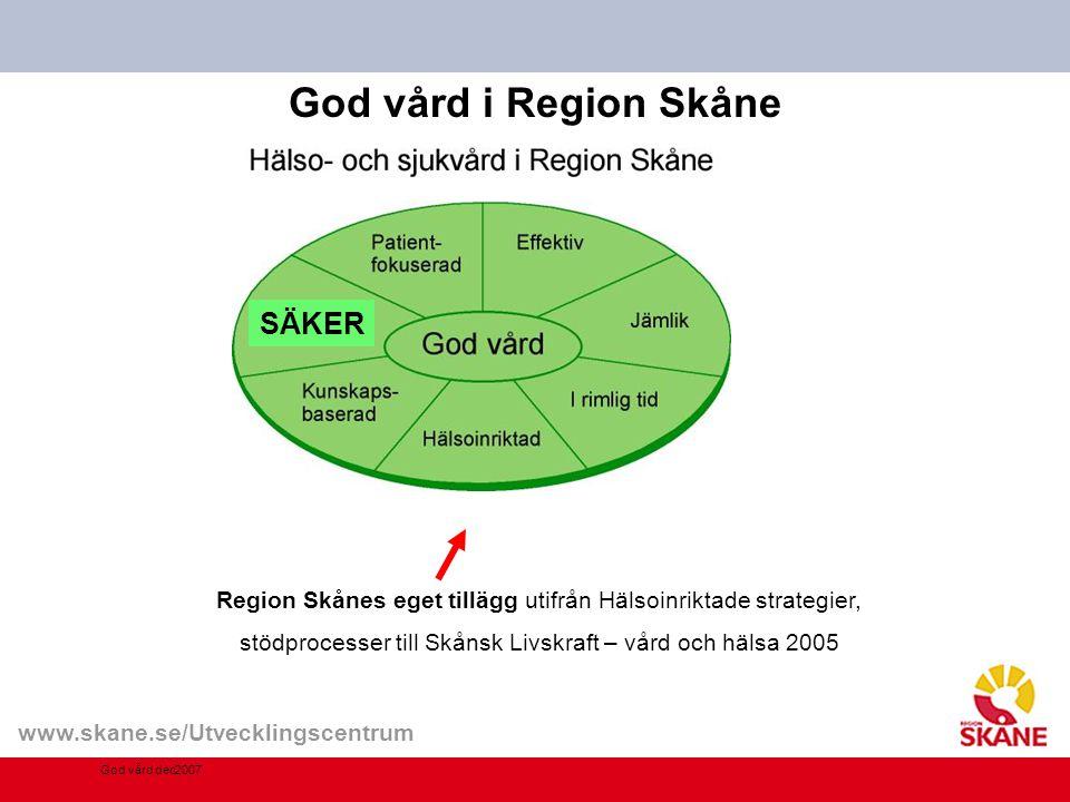 God vård i Region Skåne God vård dec2007 Region Skånes eget tillägg utifrån Hälsoinriktade strategier, stödprocesser till Skånsk Livskraft – vård och hälsa 2005 SÄKER