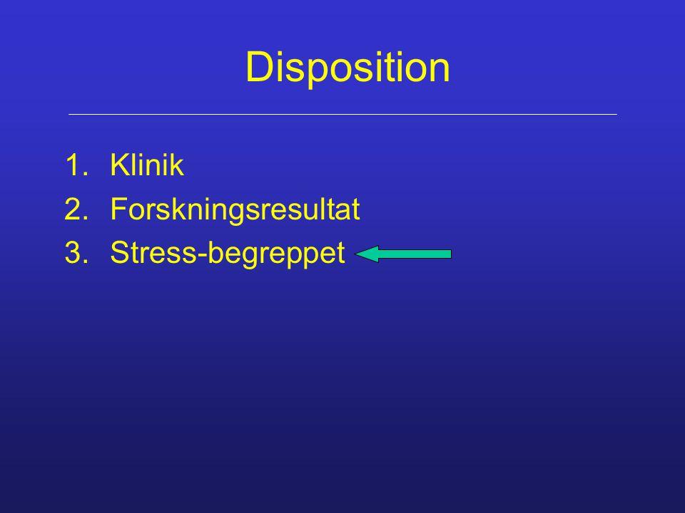 Disposition 1.Klinik 2.Forskningsresultat 3.Stress-begreppet