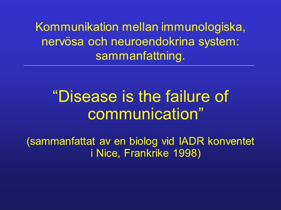 Kommunikation mellan immunologiska, nervösa och neuroendokrina system: sammanfattning.