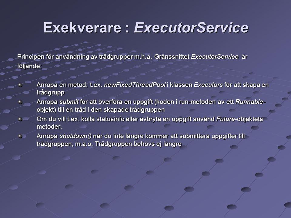 Exekverare : ExecutorService Principen för användning av trådgrupper m.h.a.