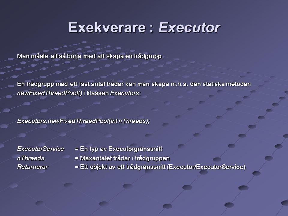 Exekverare : Executor Man måste alltså börja med att skapa en trådgrupp.