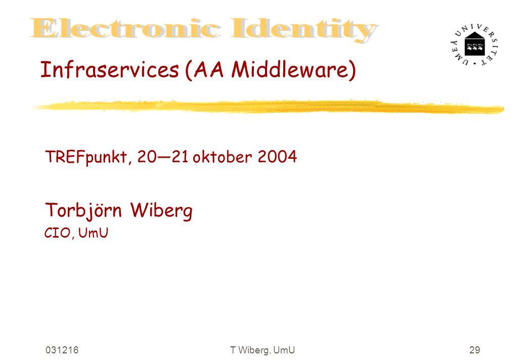031216T Wiberg, UmU29 Infraservices (AA Middleware) TREFpunkt, 20—21 oktober 2004 Torbjörn Wiberg CIO, UmU