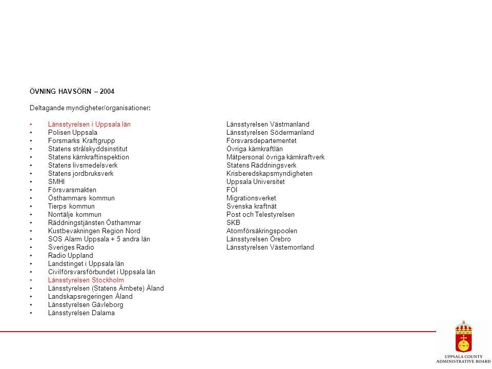 ÖVNING HAVSÖRN – 2004 Deltagande myndigheter/organisationer: Länsstyrelsen i Uppsala länLänsstyrelsen Västmanland Polisen UppsalaLänsstyrelsen Söderma