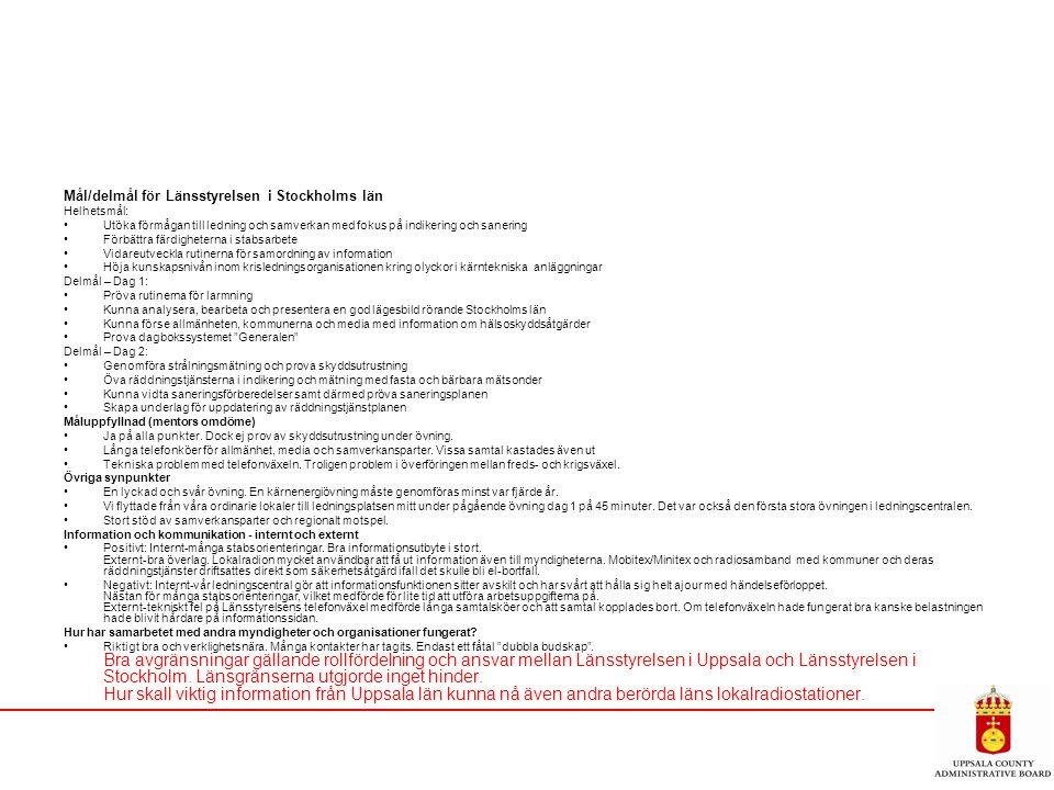 Mål/delmål för Länsstyrelsen i Stockholms län Helhetsmål: Utöka förmågan till ledning och samverkan med fokus på indikering och sanering Förbättra fär