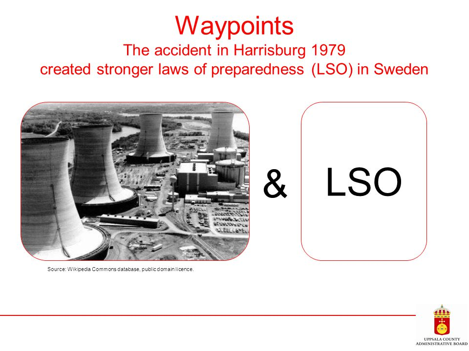 Waypoints The accident in Harrisburg 1979 created stronger laws of preparedness (LSO) in Sweden Source: Wikipedia Commons database, public domain lice