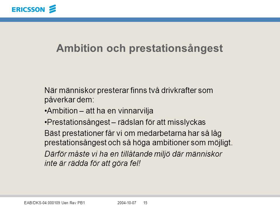 EAB/DKS-04:000109 Uen Rev PB12004-10-0715 Ambition och prestationsångest När människor presterar finns två drivkrafter som påverkar dem: Ambition – at