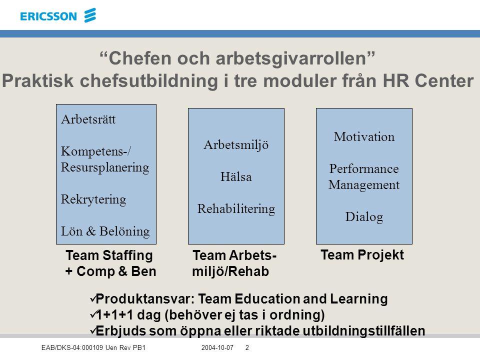 """EAB/DKS-04:000109 Uen Rev PB12004-10-072 """"Chefen och arbetsgivarrollen"""" Praktisk chefsutbildning i tre moduler från HR Center Arbetsmiljö Hälsa Rehabi"""