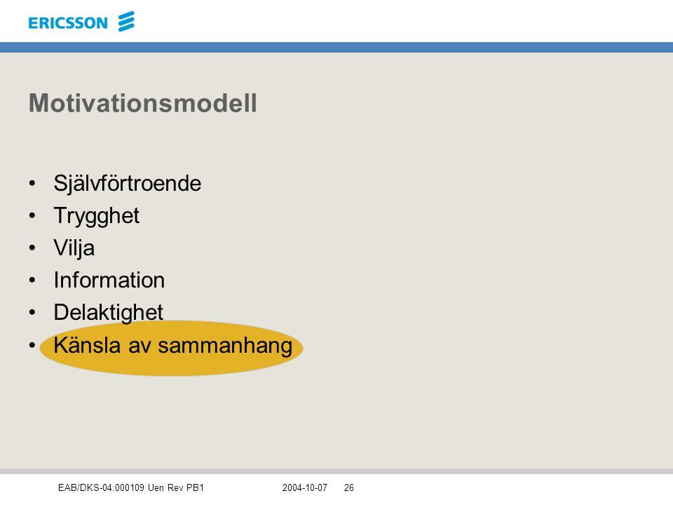 EAB/DKS-04:000109 Uen Rev PB12004-10-0726 Motivationsmodell Självförtroende Trygghet Vilja Information Delaktighet Känsla av sammanhang