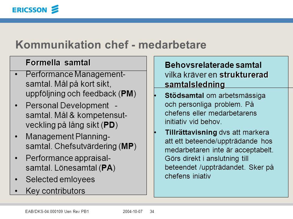 EAB/DKS-04:000109 Uen Rev PB12004-10-0734 Kommunikation chef - medarbetare Formella samtal Performance Management- samtal. Mål på kort sikt, uppföljni