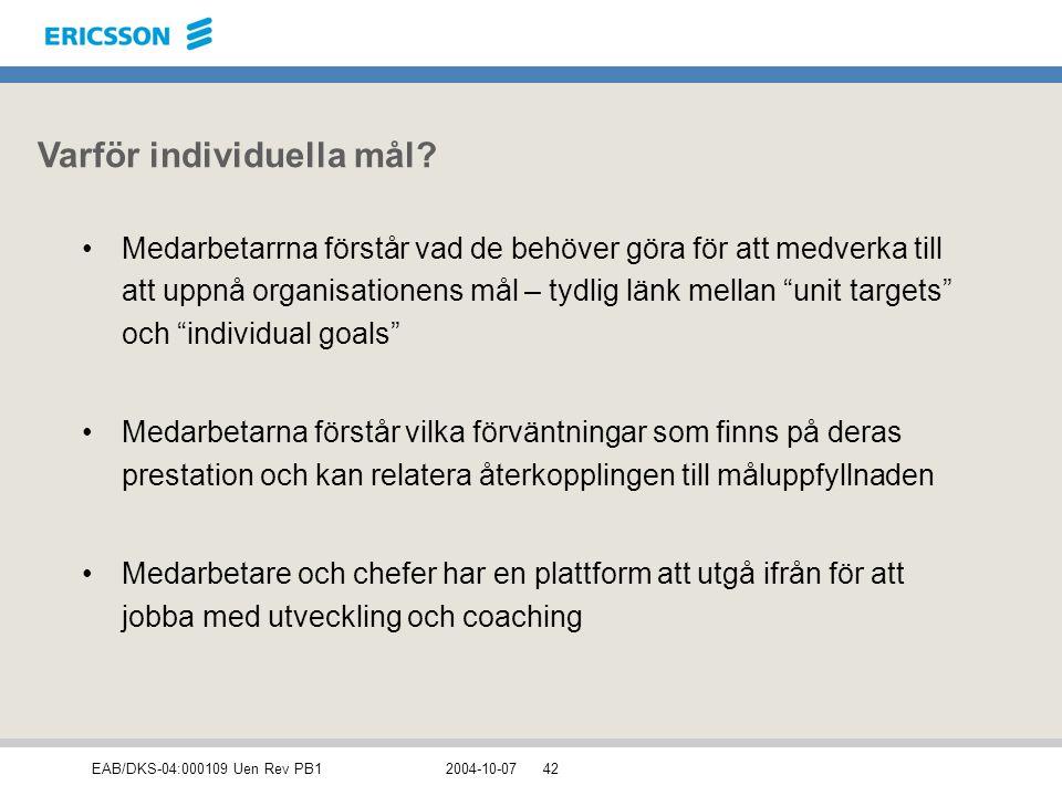 EAB/DKS-04:000109 Uen Rev PB12004-10-0742 Varför individuella mål? Medarbetarrna förstår vad de behöver göra för att medverka till att uppnå organisat