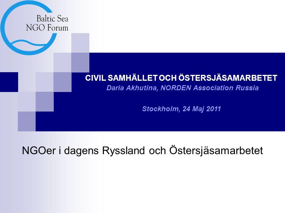 NGOer i dagens Ryssland och Östersjäsamarbetet CIVIL SAMHÄLLET OCH ÖSTERSJÄSAMARBETET Daria Akhutina, NORDEN Association Russia Stockholm, 24 Maj 2011