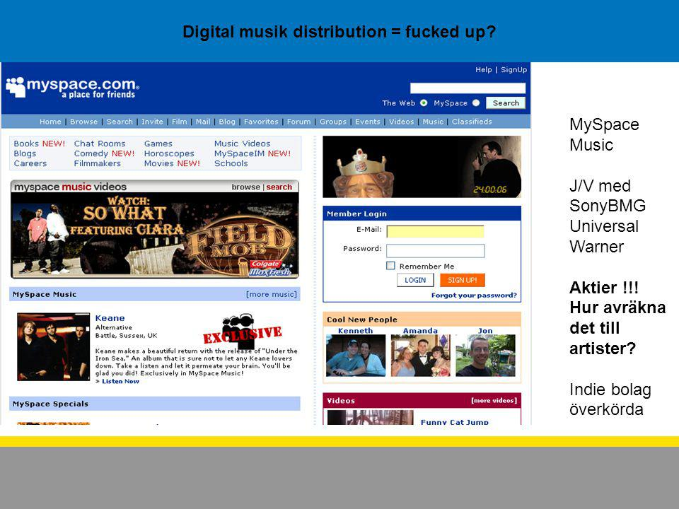 Digital musik distribution = fucked up.MySpace Music J/V med SonyBMG Universal Warner Aktier !!.