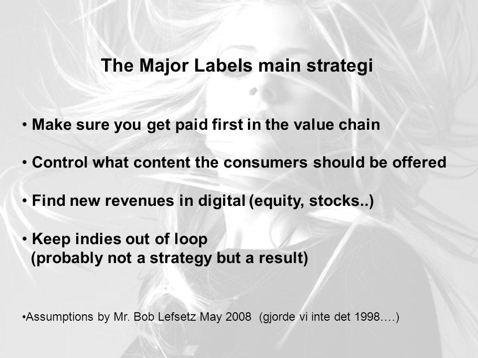 The Major Labels main strategi Make sure you get paid first in the value chain Control what content the consumers should be offered Find new revenues in digital (equity, stocks..) Keep indies out of loop (probably not a strategy but a result) Assumptions by Mr.