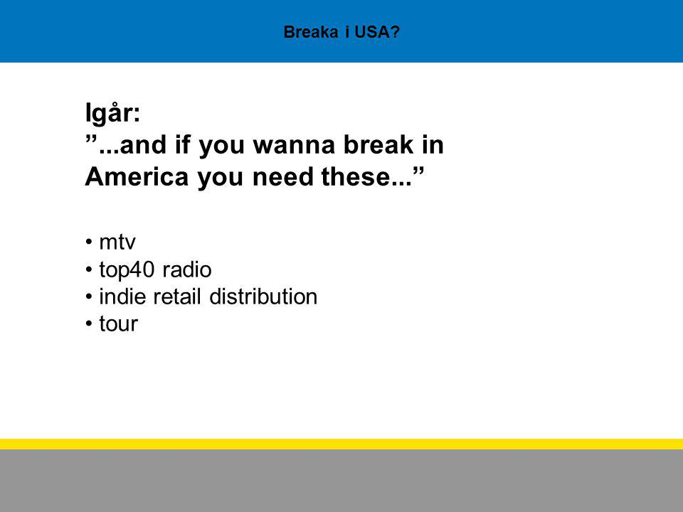 "Breaka i USA? Igår: ""...and if you wanna break in America you need these..."" mtv top40 radio indie retail distribution tour"