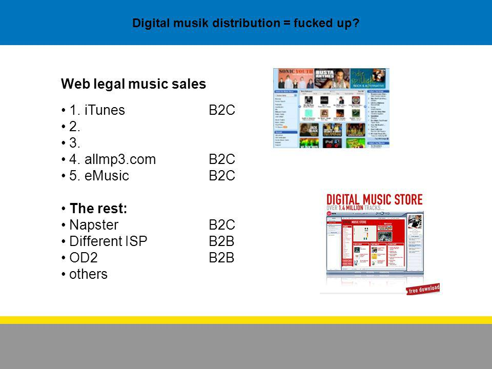 Digital musik distribution = fucked up.Web legal music sales 1.