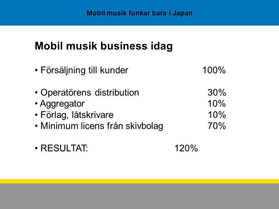 Mobil musik funkar bara i Japan Mobil musik business idag Försäljning till kunder100% Operatörens distribution 30% Aggregator 10% Förlag, låtskrivare 10% Minimum licens från skivbolag 70% RESULTAT:120%