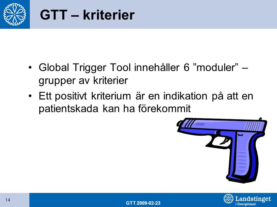 """GTT 2009-02-23 14 GTT – kriterier Global Trigger Tool innehåller 6 """"moduler"""" – grupper av kriterier Ett positivt kriterium är en indikation på att en"""