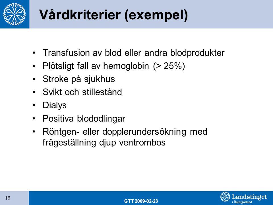 GTT 2009-02-23 16 Vårdkriterier (exempel) Transfusion av blod eller andra blodprodukter Plötsligt fall av hemoglobin (> 25%) Stroke på sjukhus Svikt o