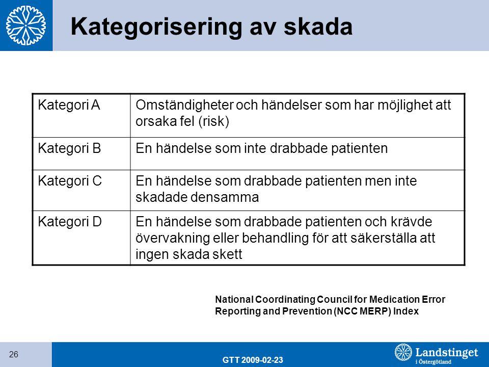 GTT 2009-02-23 26 Kategorisering av skada Kategori AOmständigheter och händelser som har möjlighet att orsaka fel (risk) Kategori BEn händelse som int