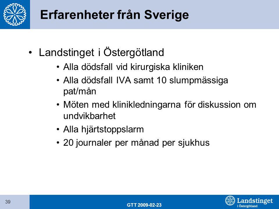 GTT 2009-02-23 39 Erfarenheter från Sverige Landstinget i Östergötland Alla dödsfall vid kirurgiska kliniken Alla dödsfall IVA samt 10 slumpmässiga pa