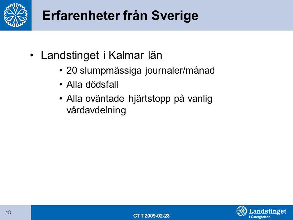 GTT 2009-02-23 48 Erfarenheter från Sverige Landstinget i Kalmar län 20 slumpmässiga journaler/månad Alla dödsfall Alla oväntade hjärtstopp på vanlig