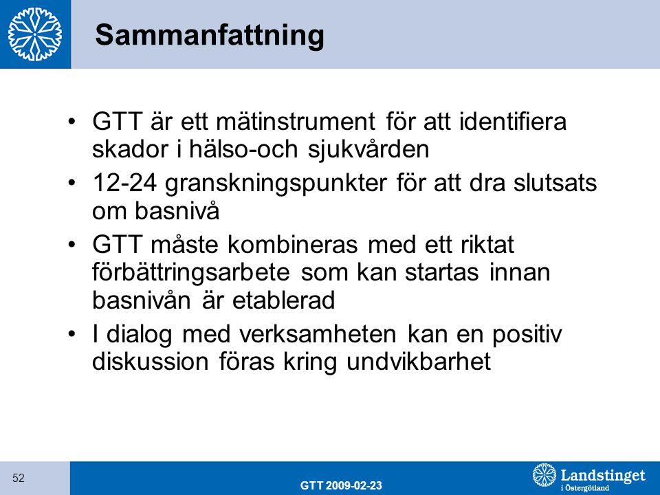 GTT 2009-02-23 52 Sammanfattning GTT är ett mätinstrument för att identifiera skador i hälso-och sjukvården 12-24 granskningspunkter för att dra sluts