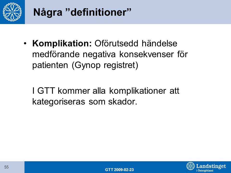 """GTT 2009-02-23 55 Några """"definitioner"""" Komplikation: Oförutsedd händelse medförande negativa konsekvenser för patienten (Gynop registret) I GTT kommer"""