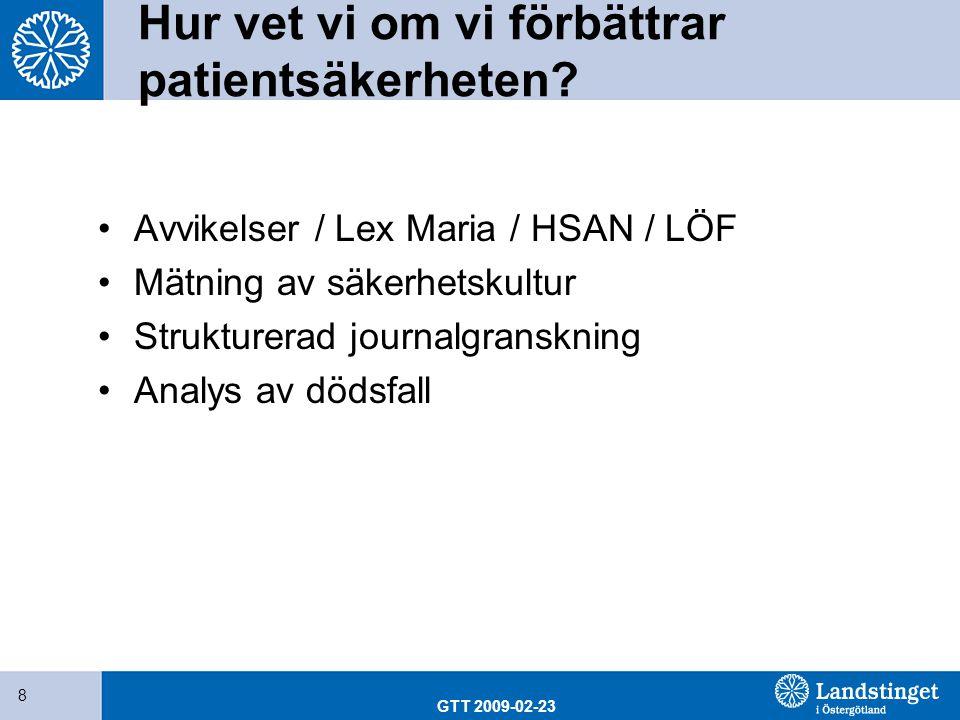 GTT 2009-02-23 8 Hur vet vi om vi förbättrar patientsäkerheten? Avvikelser / Lex Maria / HSAN / LÖF Mätning av säkerhetskultur Strukturerad journalgra