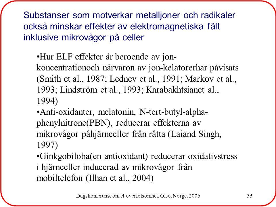 Dagskonferanse om el-overfølsomhet, Olso, Norge, 200635 Substanser som motverkar metalljoner och radikaler också minskar effekter av elektromagnetiska fält inklusive mikrovågor på celler Hur ELF effekter är beroende av jon- koncentrationoch närvaron av jon-kelatorerhar påvisats (Smith et al., 1987; Lednev et al., 1991; Markov et al., 1993; Lindström et al., 1993; Karabakhtsianet al., 1994) Anti-oxidanter, melatonin, N-tert-butyl-alpha- phenylnitrone(PBN), reducerar effekterna av mikrovågor påhjärnceller från råtta (Laiand Singh, 1997) Ginkgobiloba(en antioxidant) reducerar oxidativstress i hjärnceller inducerad av mikrovågor från mobiltelefon (Ilhan et al., 2004)
