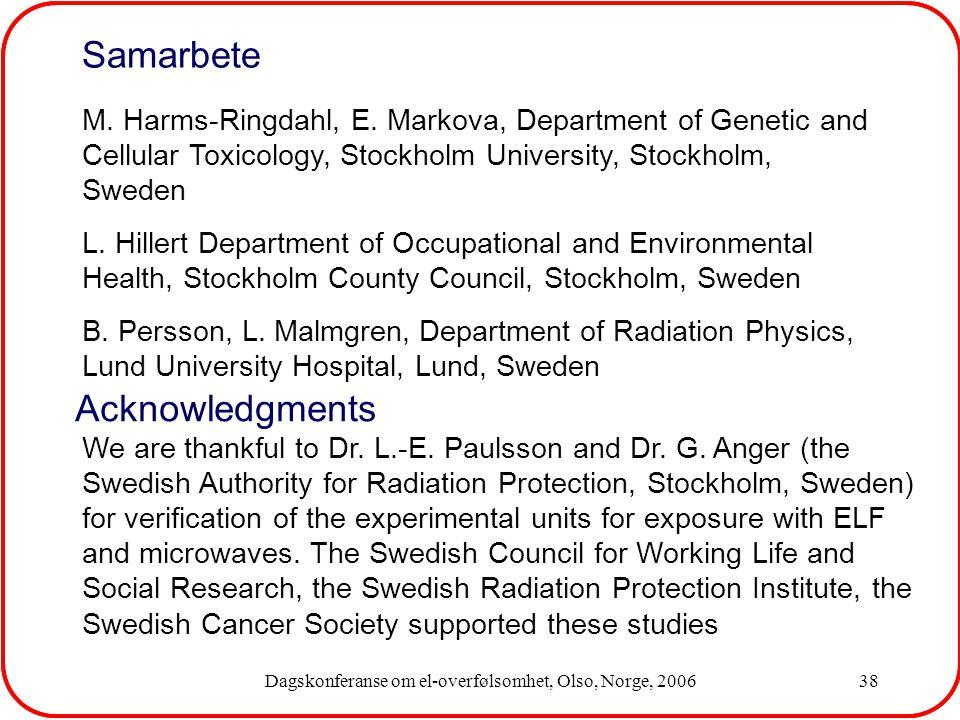 Dagskonferanse om el-overfølsomhet, Olso, Norge, 200638 We are thankful to Dr.