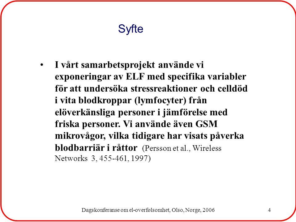 Dagskonferanse om el-overfølsomhet, Olso, Norge, 20064 I vårt samarbetsprojekt använde vi exponeringar av ELF med specifika variabler för att undersöka stressreaktioner och celldöd i vita blodkroppar (lymfocyter) från elöverkänsliga personer i jämförelse med friska personer.