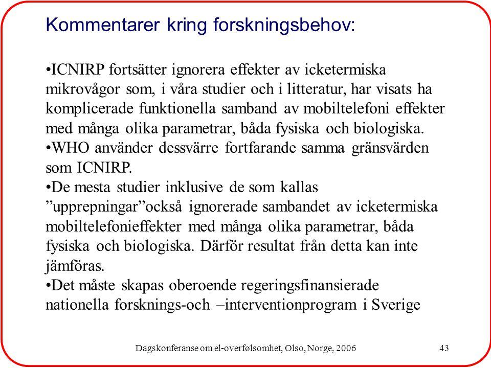 Dagskonferanse om el-overfølsomhet, Olso, Norge, 200643 Kommentarer kring forskningsbehov: ICNIRP fortsätter ignorera effekter av icketermiska mikrovågor som, i våra studier och i litteratur, har visats ha komplicerade funktionella samband av mobiltelefoni effekter med många olika parametrar, båda fysiska och biologiska.