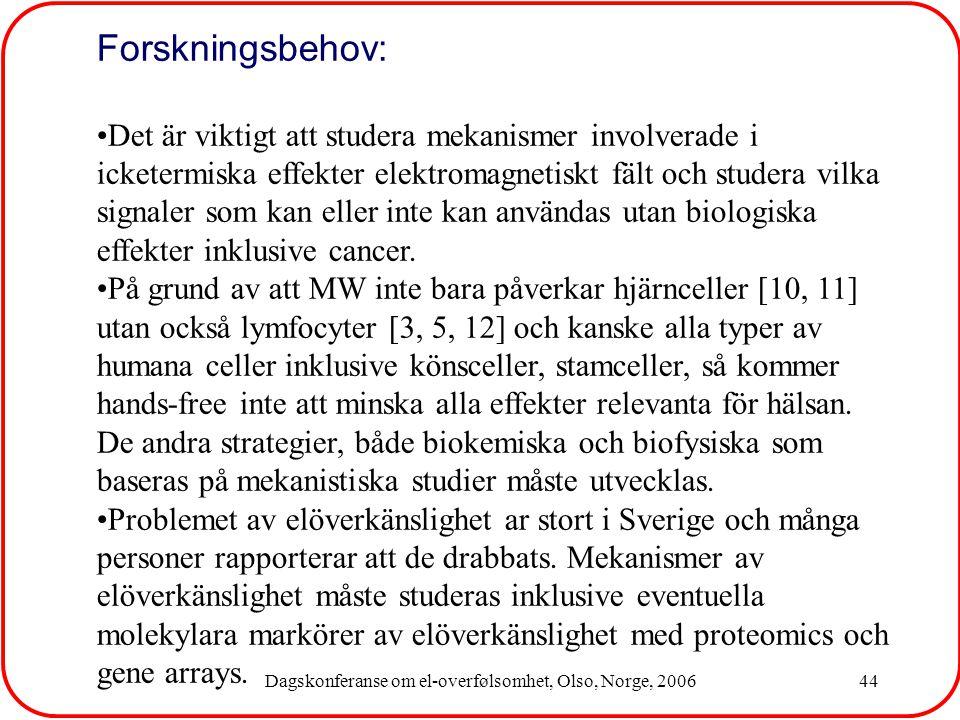 Dagskonferanse om el-overfølsomhet, Olso, Norge, 200644 Forskningsbehov: Det är viktigt att studera mekanismer involverade i icketermiska effekter elektromagnetiskt fält och studera vilka signaler som kan eller inte kan användas utan biologiska effekter inklusive cancer.