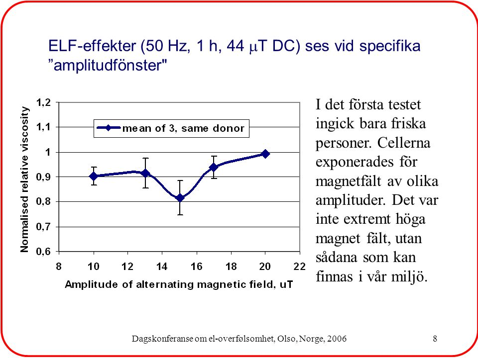 Dagskonferanse om el-overfølsomhet, Olso, Norge, 200639 Most powerful techniques should be applied for searching the possible molecular markers of response to electromagnetic fields and hypersensitivity Proteomics, 2D-electrophoresis Genomics, gene microarrays