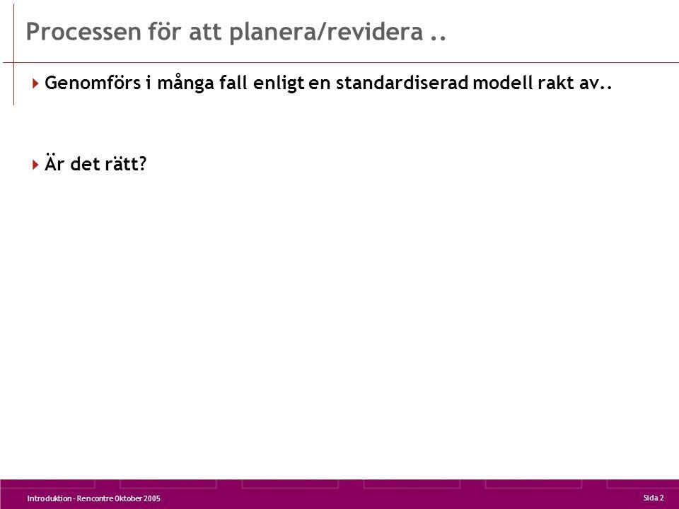 Introduktion - Rencontre Oktober 2005 Sida 2 Processen för att planera/revidera..