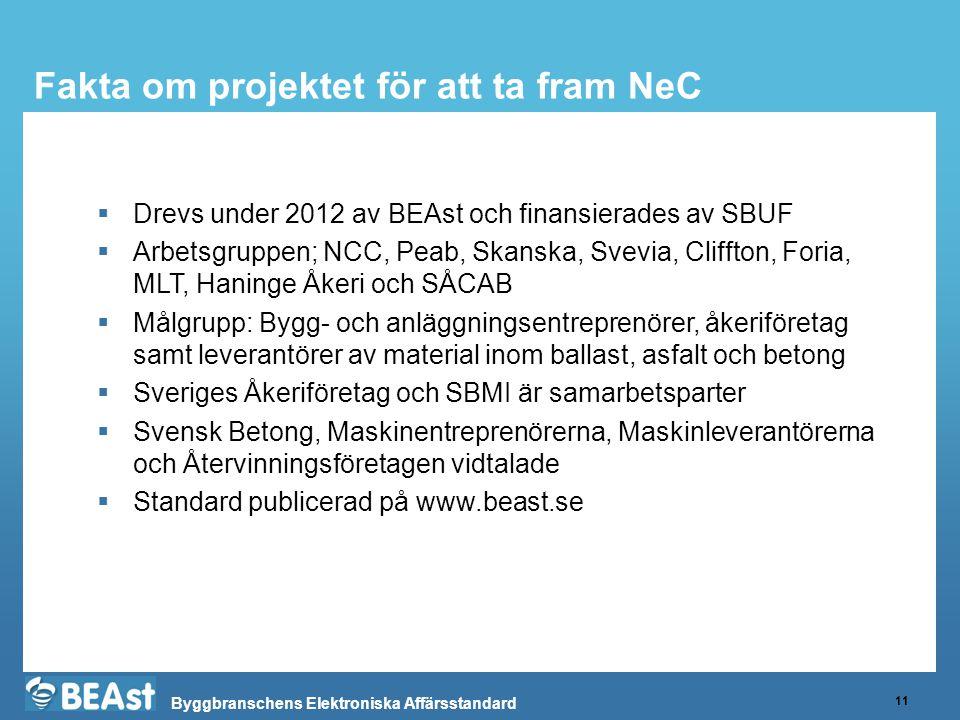 Byggbranschens Elektroniska Affärsstandard Fakta om projektet för att ta fram NeC 11  Drevs under 2012 av BEAst och finansierades av SBUF  Arbetsgruppen; NCC, Peab, Skanska, Svevia, Cliffton, Foria, MLT, Haninge Åkeri och SÅCAB  Målgrupp: Bygg- och anläggningsentreprenörer, åkeriföretag samt leverantörer av material inom ballast, asfalt och betong  Sveriges Åkeriföretag och SBMI är samarbetsparter  Svensk Betong, Maskinentreprenörerna, Maskinleverantörerna och Återvinningsföretagen vidtalade  Standard publicerad på www.beast.se