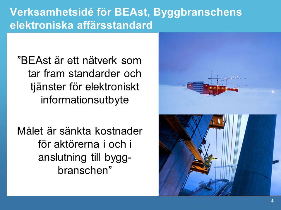 4 Verksamhetsidé för BEAst, Byggbranschens elektroniska affärsstandard BEAst är ett nätverk som tar fram standarder och tjänster för elektroniskt informationsutbyte Målet är sänkta kostnader för aktörerna i och i anslutning till bygg- branschen