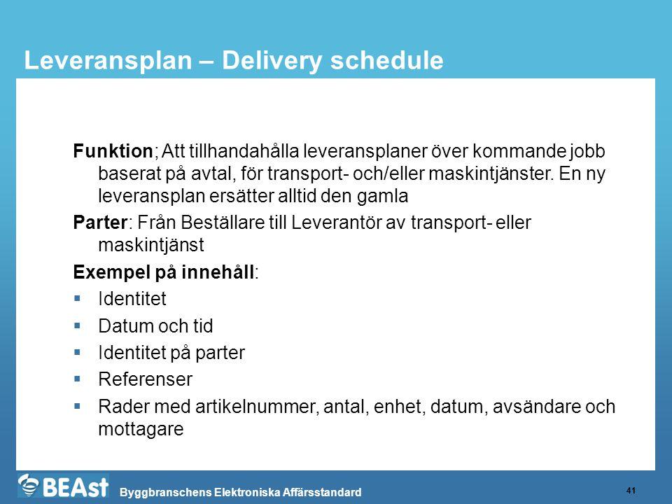 Byggbranschens Elektroniska Affärsstandard Leveransplan – Delivery schedule 41 Funktion; Att tillhandahålla leveransplaner över kommande jobb baserat på avtal, för transport- och/eller maskintjänster.