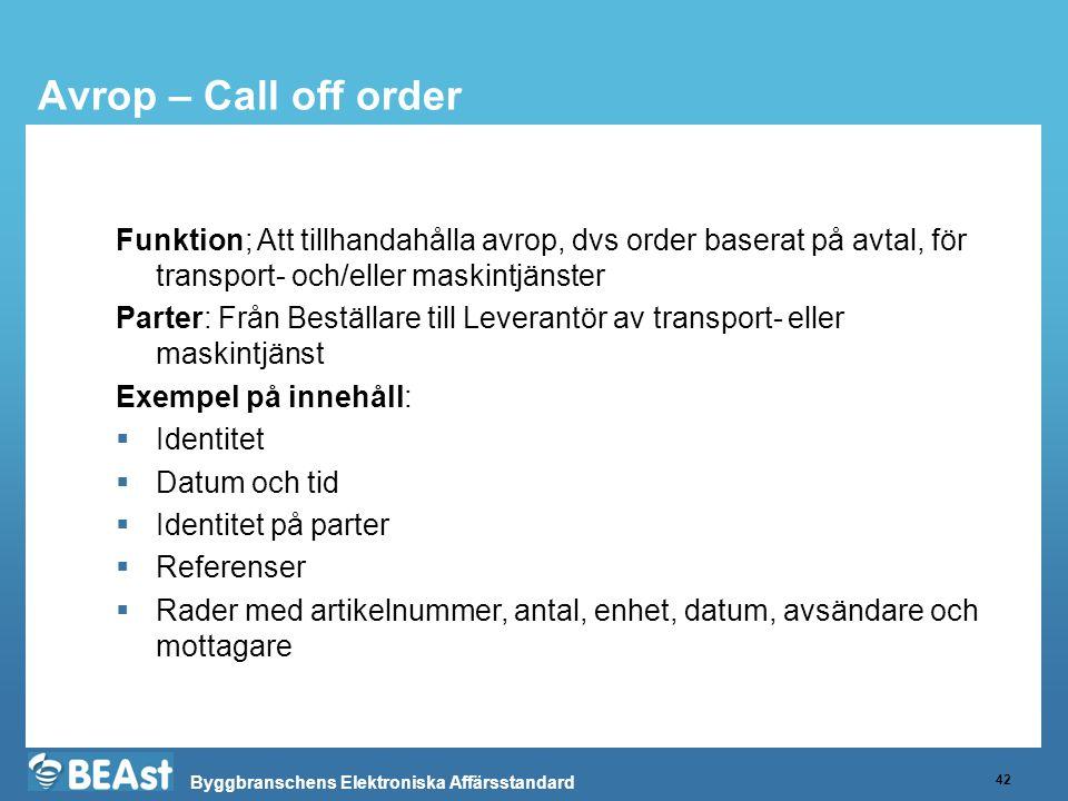 Byggbranschens Elektroniska Affärsstandard Avrop – Call off order 42 Funktion; Att tillhandahålla avrop, dvs order baserat på avtal, för transport- och/eller maskintjänster Parter: Från Beställare till Leverantör av transport- eller maskintjänst Exempel på innehåll:  Identitet  Datum och tid  Identitet på parter  Referenser  Rader med artikelnummer, antal, enhet, datum, avsändare och mottagare
