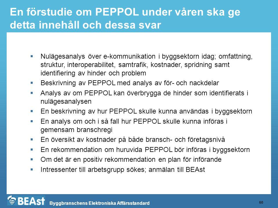 Byggbranschens Elektroniska Affärsstandard En förstudie om PEPPOL under våren ska ge detta innehåll och dessa svar 60  Nulägesanalys över e-kommunikation i byggsektorn idag; omfattning, struktur, interoperabilitet, samtrafik, kostnader, spridning samt identifiering av hinder och problem  Beskrivning av PEPPOL med analys av för- och nackdelar  Analys av om PEPPOL kan överbrygga de hinder som identifierats i nulägesanalysen  En beskrivning av hur PEPPOL skulle kunna användas i byggsektorn  En analys om och i så fall hur PEPPOL skulle kunna införas i gemensam branschregi  En översikt av kostnader på både bransch- och företagsnivå  En rekommendation om huruvida PEPPOL bör införas i byggsektorn  Om det är en positiv rekommendation en plan för införande  Intressenter till arbetsgrupp sökes; anmälan till BEAst