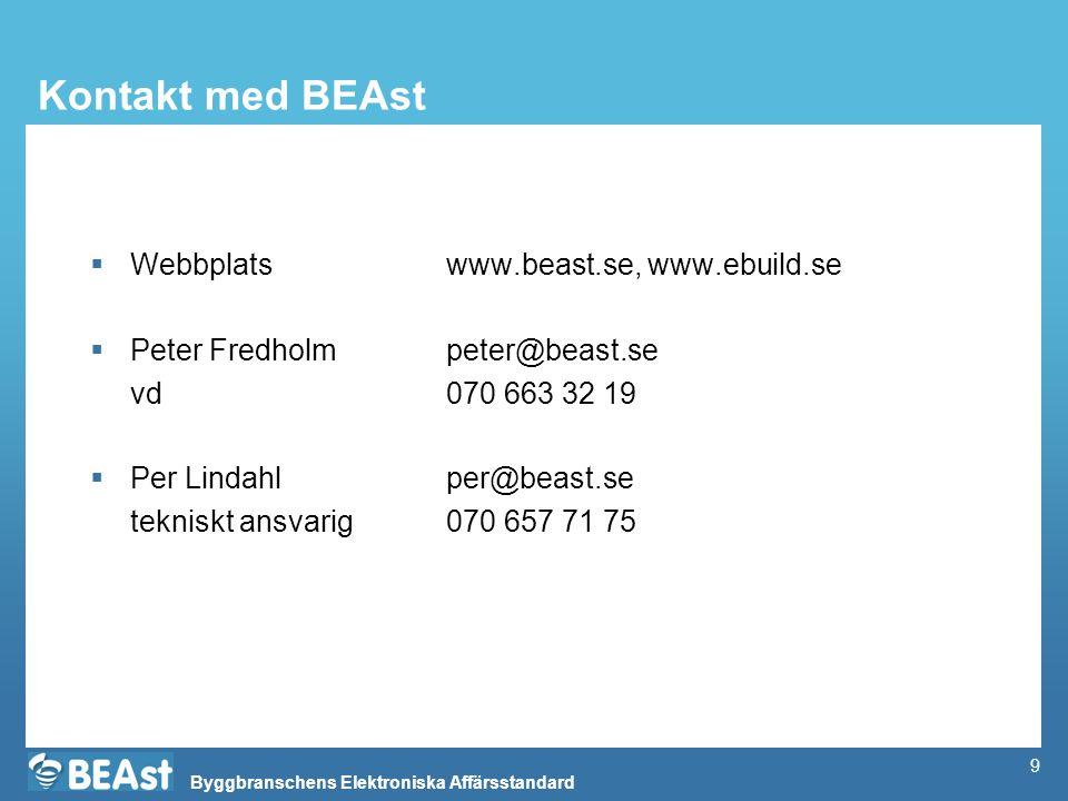 Byggbranschens Elektroniska Affärsstandard 9 Kontakt med BEAst  Webbplats www.beast.se, www.ebuild.se  Peter Fredholmpeter@beast.se vd070 663 32 19  Per Lindahl per@beast.se tekniskt ansvarig070 657 71 75