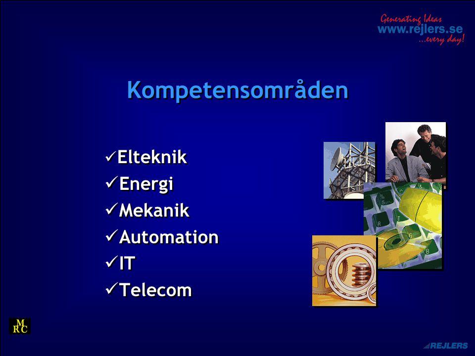 Rejlers Sverige Ca 550 anställda 8 års positiv resultatutveckling Ledande Elkraft konsult på den svenska marknaden Andel av omsättning: 80 % 65 års erfarenhet, 3 generationer