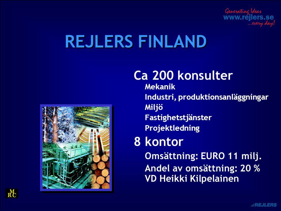 REJLERS FINLAND Ca 200 konsulter Mekanik Industri, produktionsanläggningar Miljö Fastighetstjänster Projektledning 8 kontor Omsättning: EURO 11 milj.
