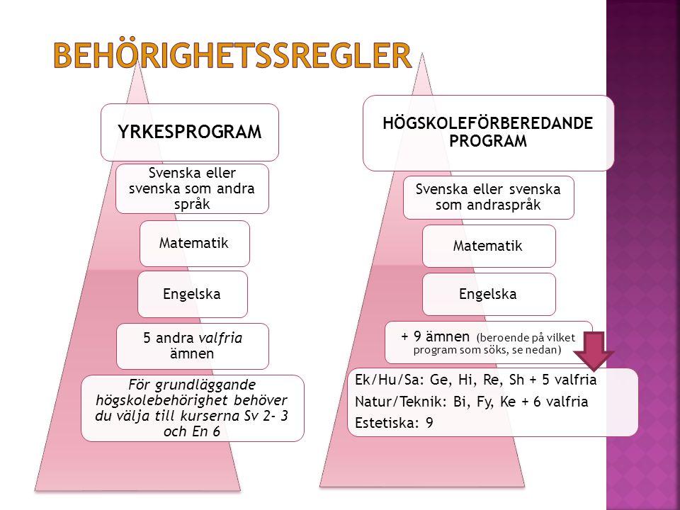 YRKESPROGRAM Svenska eller svenska som andra språk MatematikEngelska 5 andra valfria ämnen För grundläggande högskolebehörighet behöver du välja till