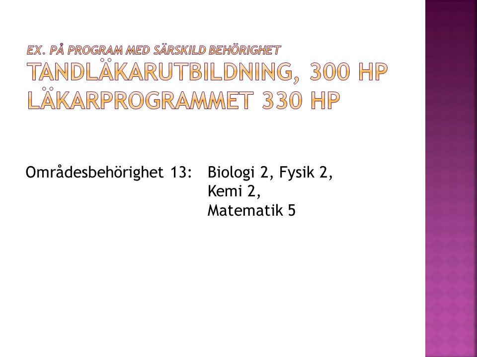 Områdesbehörighet 13:Biologi 2, Fysik 2, Kemi 2, Matematik 5