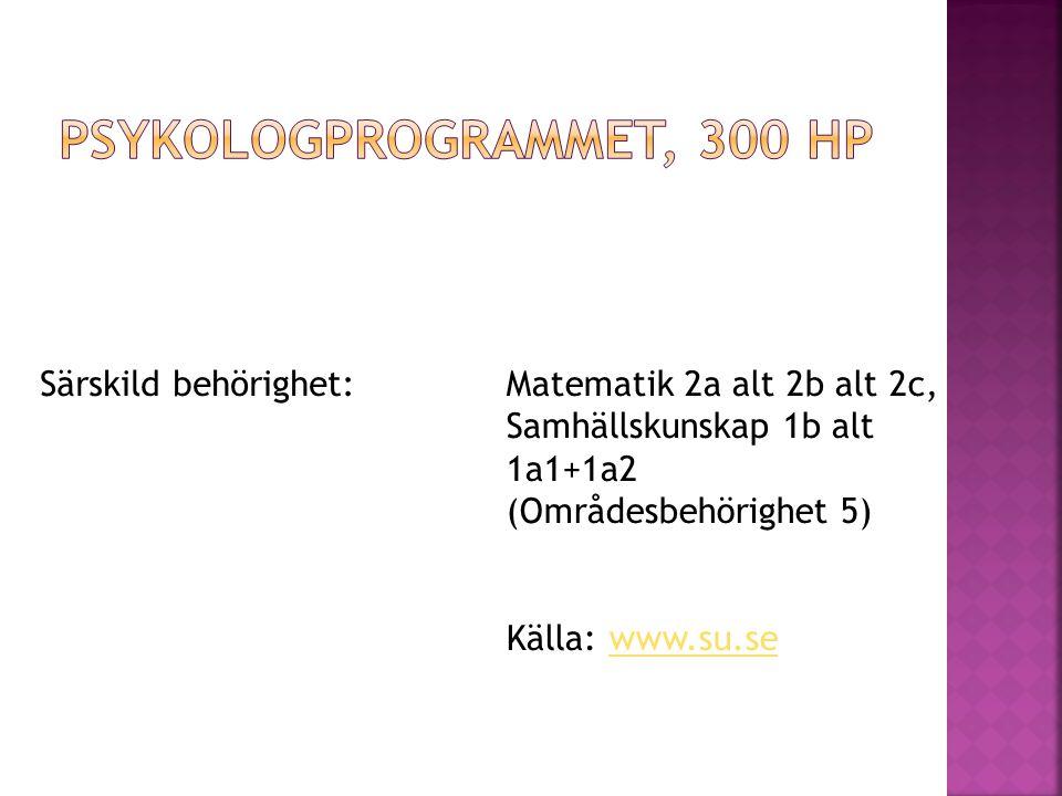 Särskild behörighet:Matematik 2a alt 2b alt 2c, Samhällskunskap 1b alt 1a1+1a2 (Områdesbehörighet 5) Källa: www.su.sewww.su.se