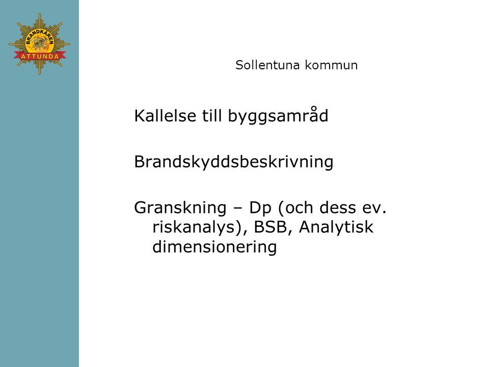Sollentuna kommun Kallelse till byggsamråd Brandskyddsbeskrivning Granskning – Dp (och dess ev.